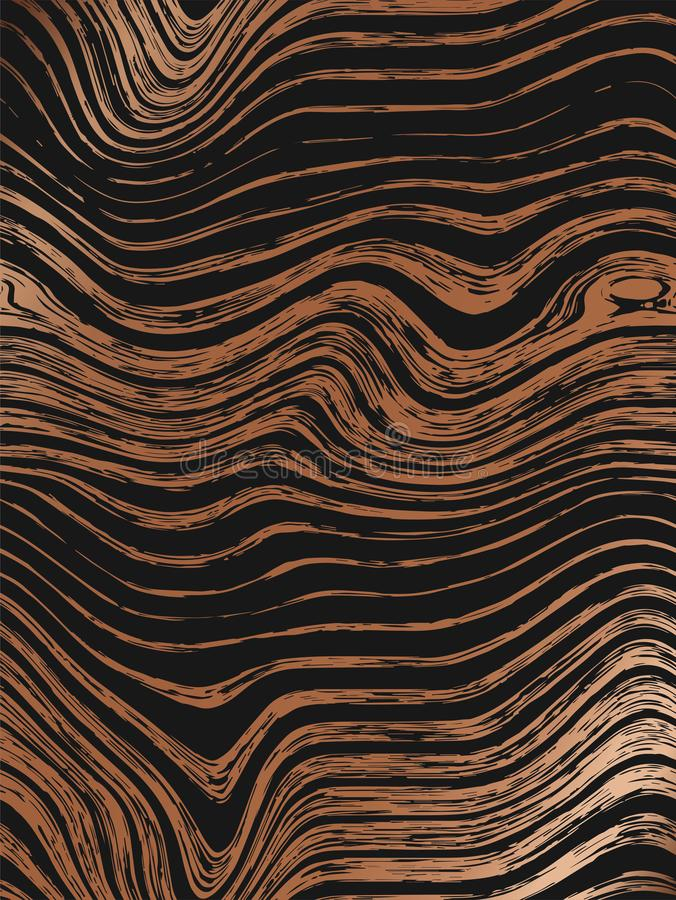 Abstract wood gold pattern textures background. Seamless luxury wood texture, board hand drawn graphic. Dense lines. vector illustration