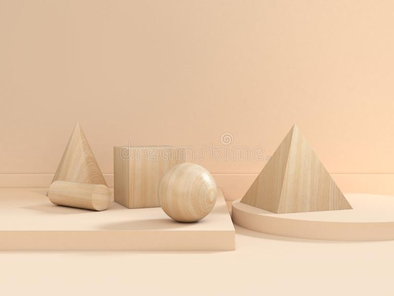 Abstract wood texture geometric shape group set cream-soft brown scene 3d render minimal. 3d abstract wood texture geometric shape group set cream-soft brown vector illustration