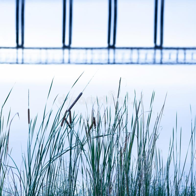 Abstract wooden bridge reflected in a lake, gently surface and shape of a bridge in the water, reeds growing on lakeside royalty free stock photos
