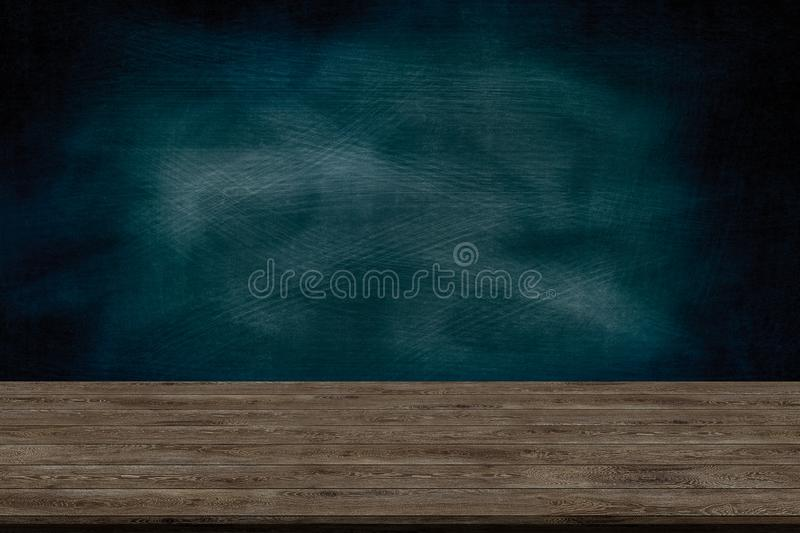 Abstract wooden table texture and chalk rubbed out on blackboard, for graphic add product, Education concept,. Interior design display your product stock photo