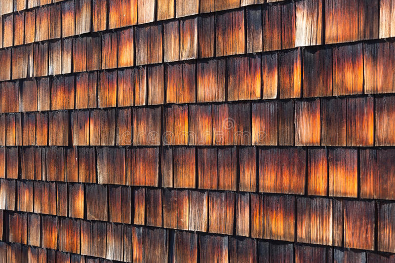 Red Cedar Color ~ Abstract wooden texture of cedar shingles stock photo