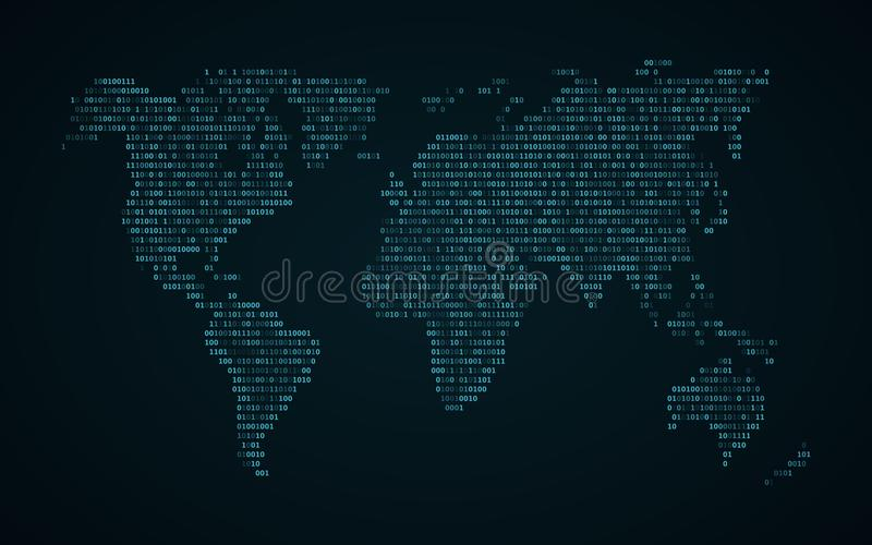 Abstract world map of binary code. Glowing map of the earth. Dark blue background. Blue lights. Sci-fi technology. Programming, bi stock illustration