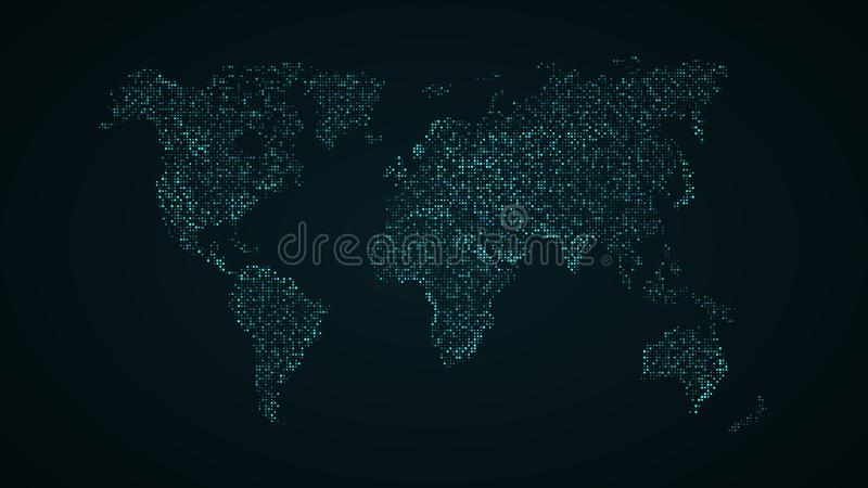 Abstract world map. Blue map of the earth from the square points. Dark background. Blue glow. High tech. Sci-fi technology. Global royalty free illustration