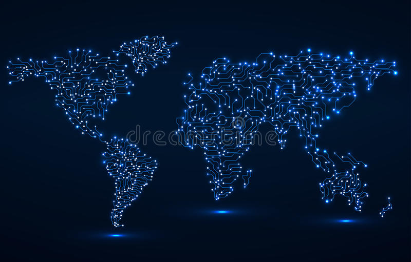 Abstract World Map. Circuit board royalty free illustration