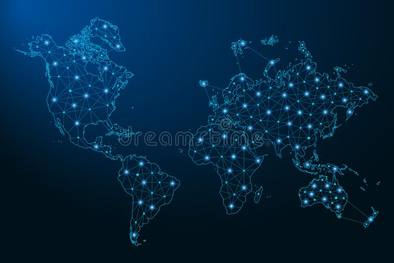 Abstract World map created from lines and bright points in the form of starry sky, polygonal wireframe mesh and connected lines. Vector illustration royalty free illustration