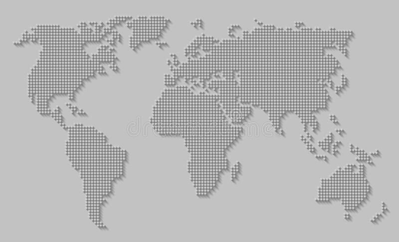 Abstract world map of dots / circles with a long shadow on a gray background. Vector EPS 10 vector illustration
