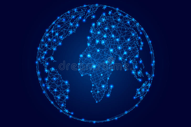 Abstract world map on a globe ball of polygonal blue lines stars on download abstract world map on a globe ball of polygonal blue lines stars on dark gumiabroncs Gallery