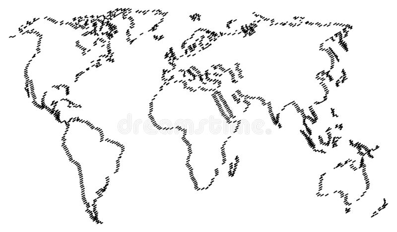 Abstract world map isolated on white background. vector illustration