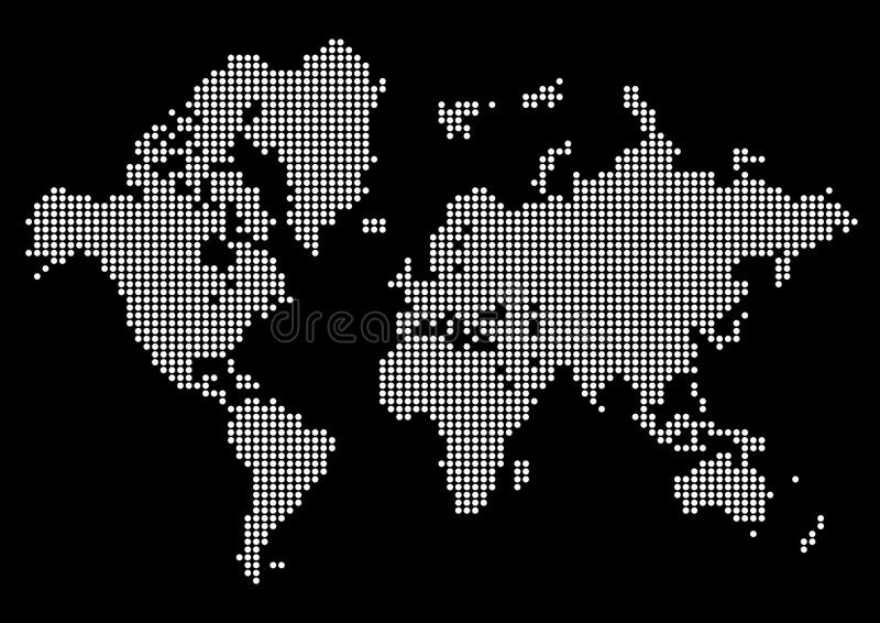 Download abstract world map made of dots white dot world on black background stock