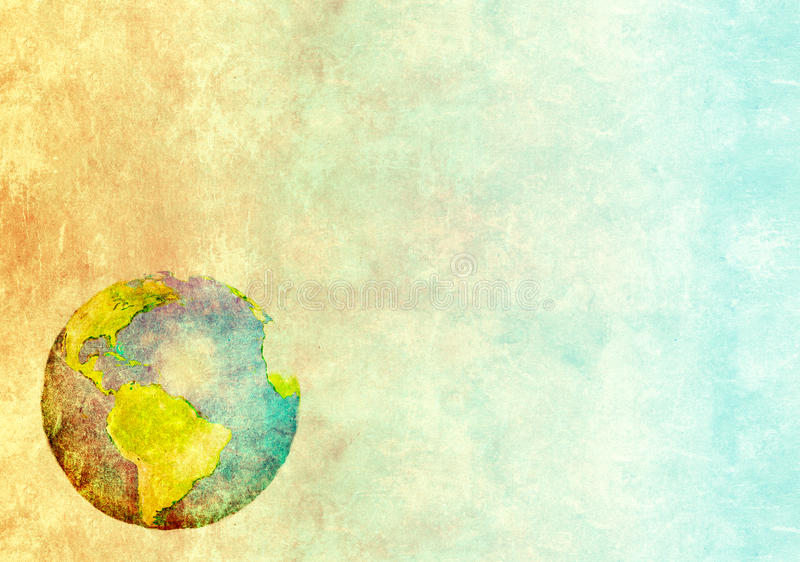 Abstract world map printed on paper texture. Grunge background with abstract world map printed on paper texture royalty free illustration