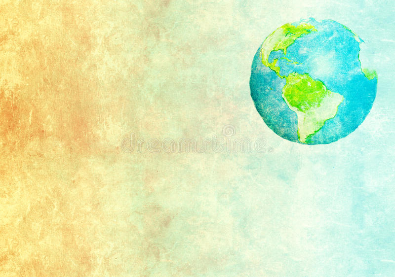 Abstract world map printed on paper texture. Grunge background with abstract world map printed on paper texture stock illustration