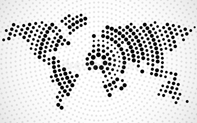 Abstract world map of radial dots vector illustration