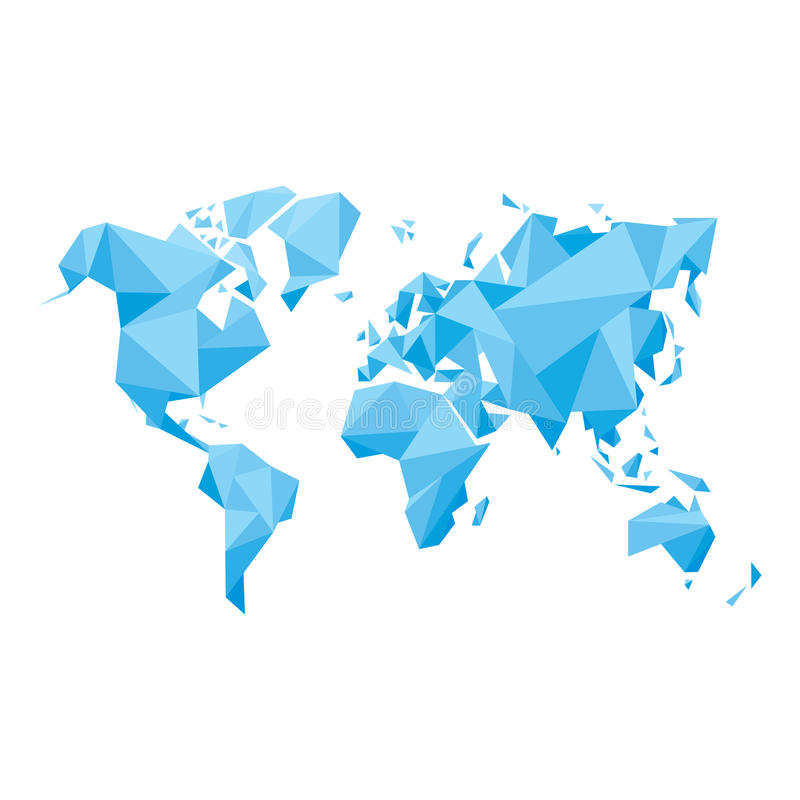 abstract world map vector illustration geometric structure in blue color for presentation booklet website and other design projects
