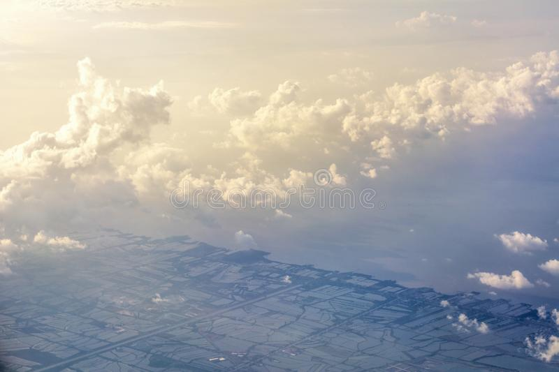Abstract worm tone bird eye view clouds royalty free stock photos