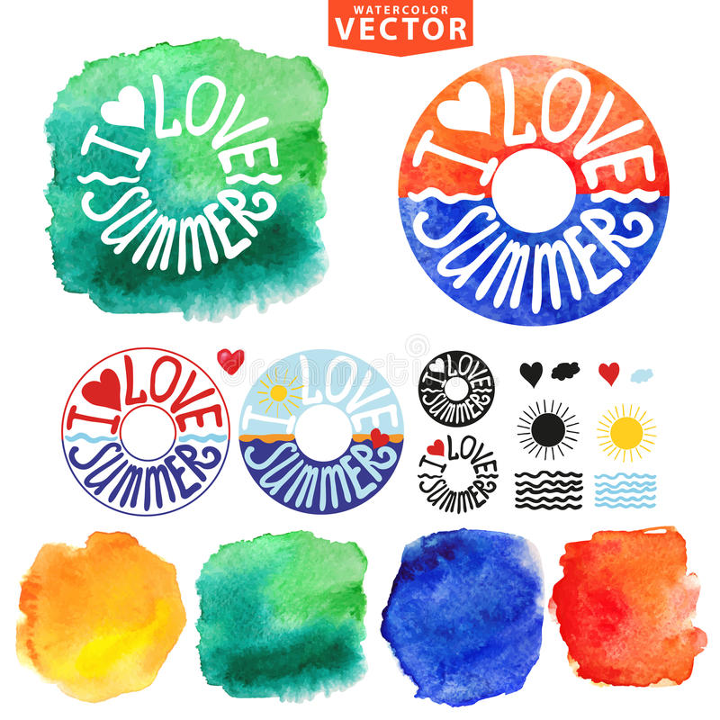 Abstract wtercolor Summer typography lifebuoy royalty free illustration