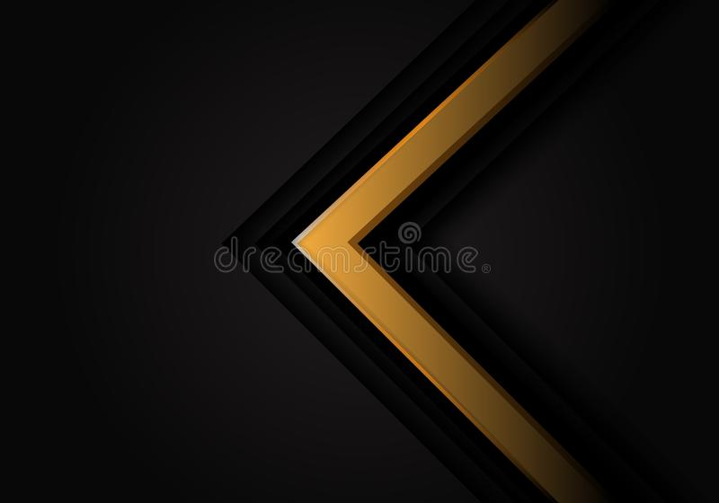 Abstract yellow arrow 3D on black design modern futuristic vector background stock illustration