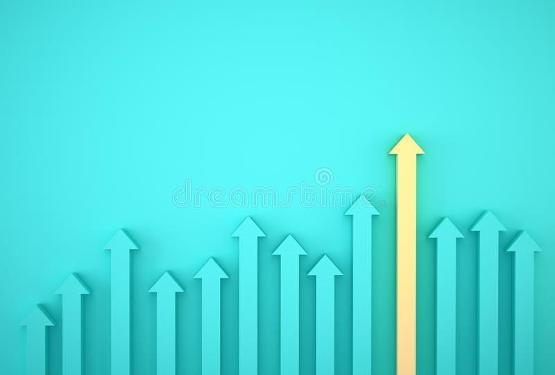 Abstract of yellow arrow graph on blue background, corporate future growth plan. Business development to success and growing growt stock image