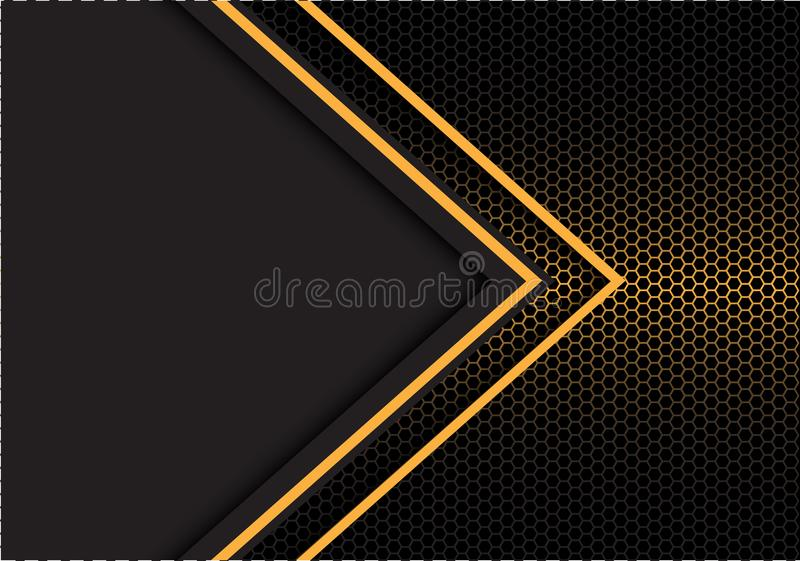 Abstract yellow arrow light direction hexagon mesh with dark gray blank space design modern futuristic background vector royalty free illustration