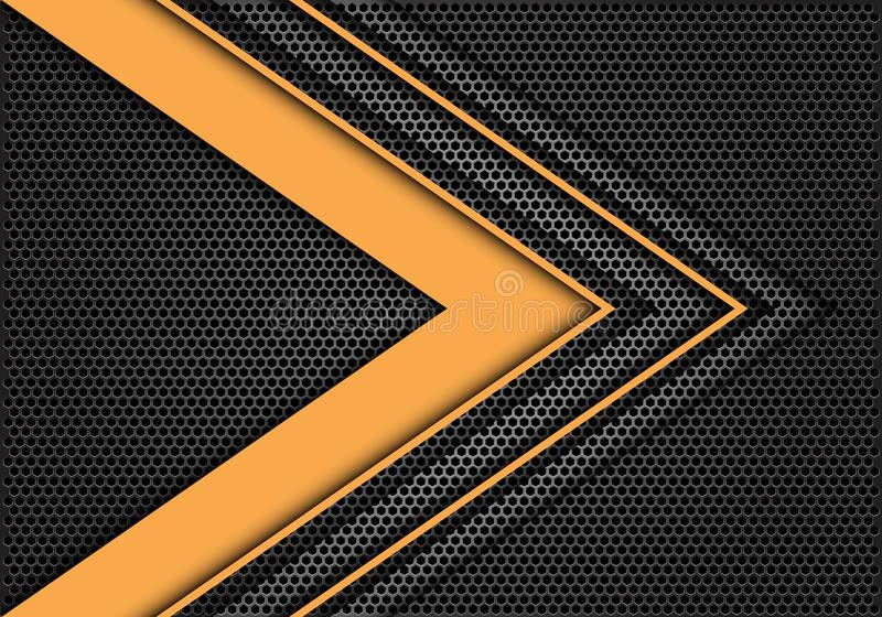 Abstract yellow arrow speed direction on dark gray hexagon mesh design modern futuristic background texture vector royalty free illustration