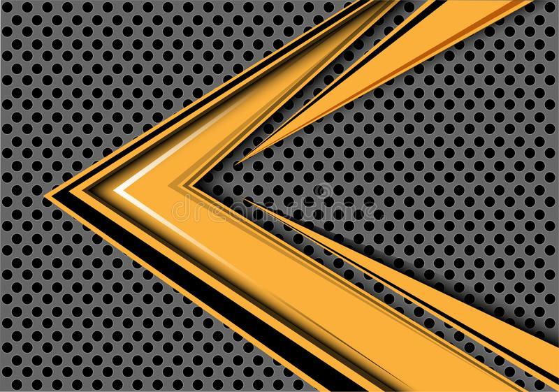 Abstract yellow arrow speed overlap on gray circle mesh design modern futuristic background vector. Abstract yellow arrow speed overlap on gray circle mesh royalty free illustration