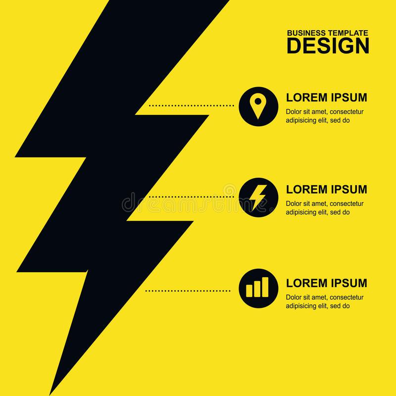 Abstract yellow, black background with lightning and icons. Concept for brochure cover, flyer, poster, business template, energy stock illustration
