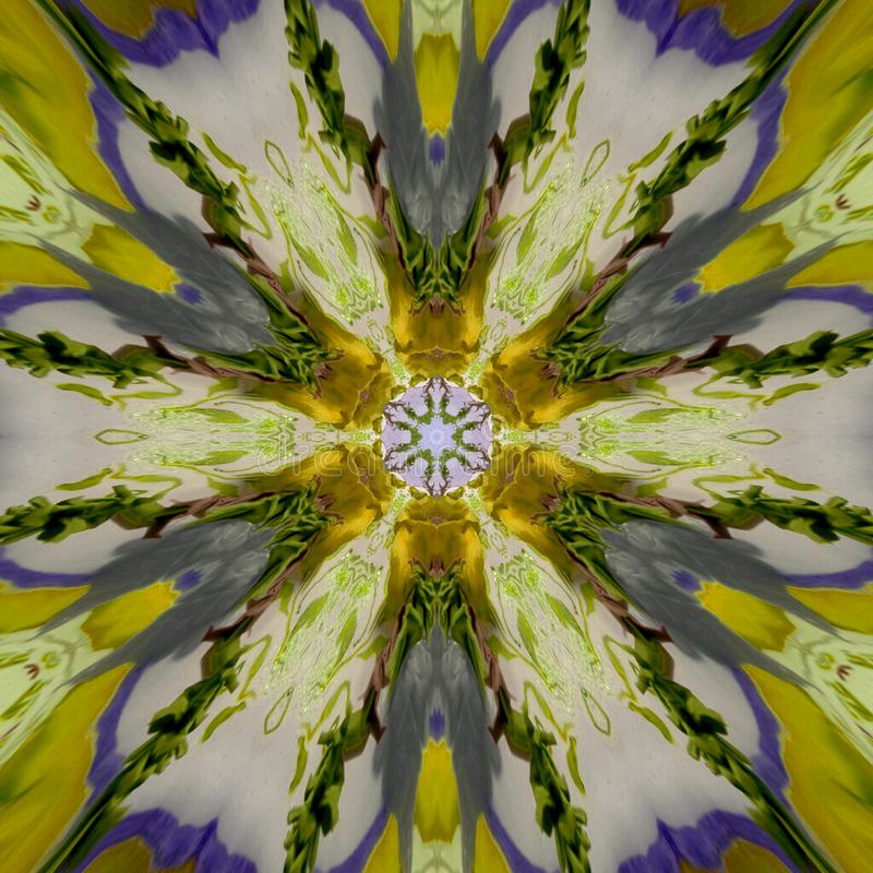 Abstract yellow blue pattern texture, kaleidoscope seamless background vector illustration