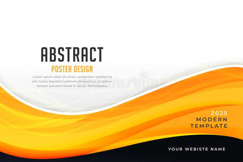 Abstract yellow color business style wave design vector illustration
