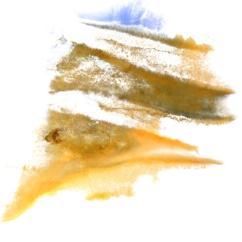 Abstract Yellow, dark blue, grey drawing stroke ink watercolor b. Rush water color splash paint watercolour background royalty free stock photography