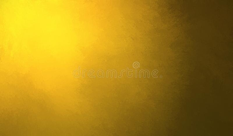 Abstract yellow gold background design, border has dark color edges of black, sun or sunshine spotlight with dark shadow edges royalty free illustration