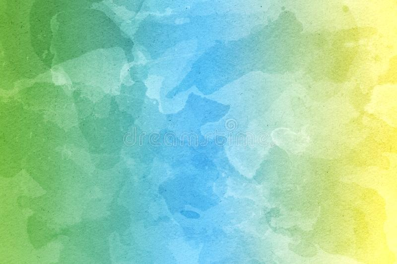 Abstract Yellow, Green and Blue Watercolor Background stock image