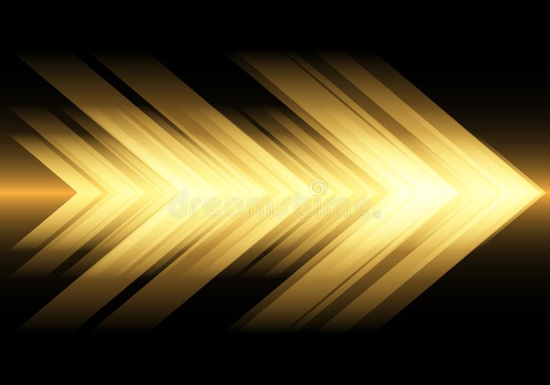 Abstract yellow light arrow speed on black design modern futuristic technology background vector stock illustration