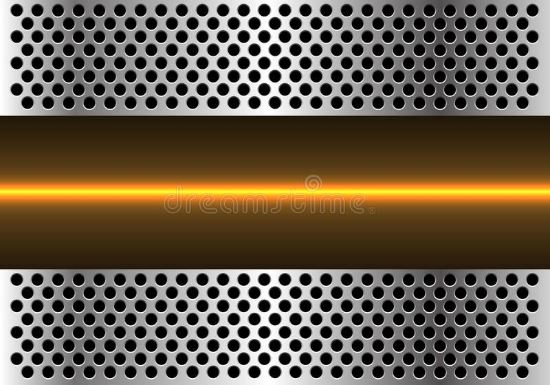 Abstract yellow light line technology in metal circle mesh design modern futuristic background vector royalty free illustration