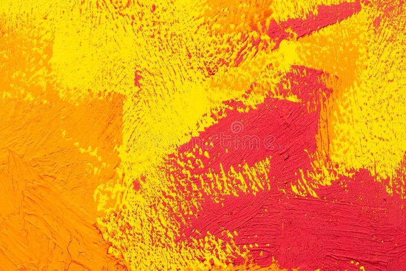 Abstract orange red oil painting brush strokes. Abstract yellow orange red real oil painting brush strokes full frame stock photography