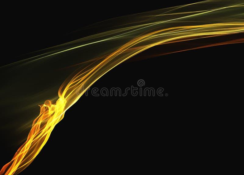 Abstract yellow orange smoke flame elegant wave over black background royalty free stock photos