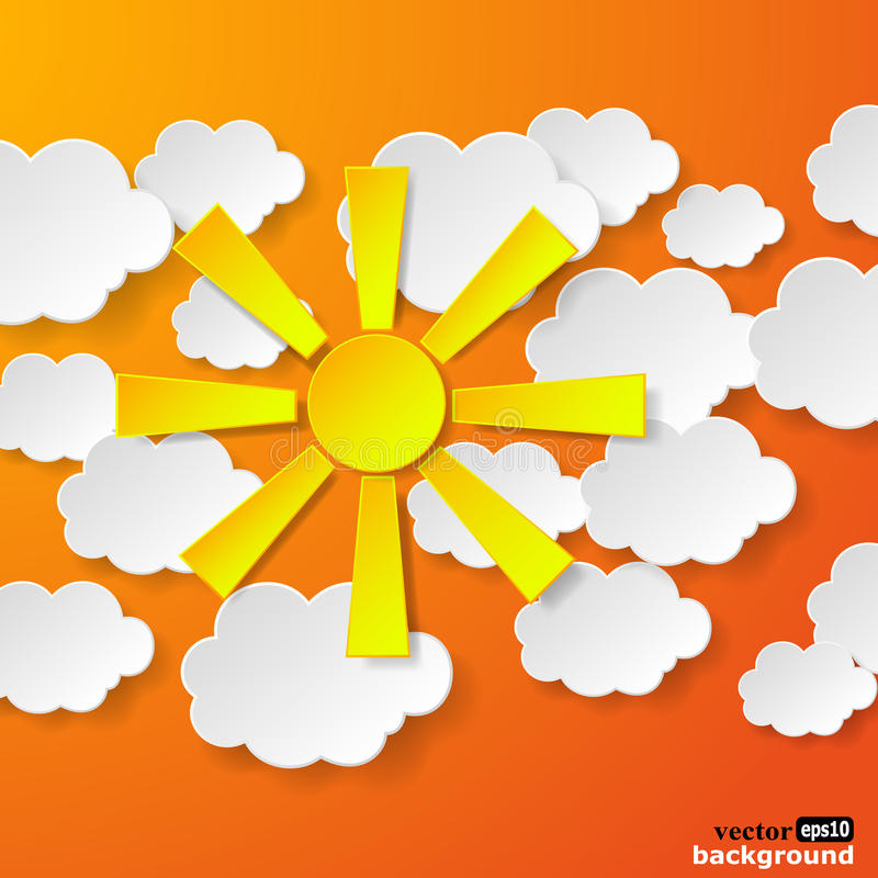 Abstract yellow paper sun and white paper clouds on orange background stock illustration