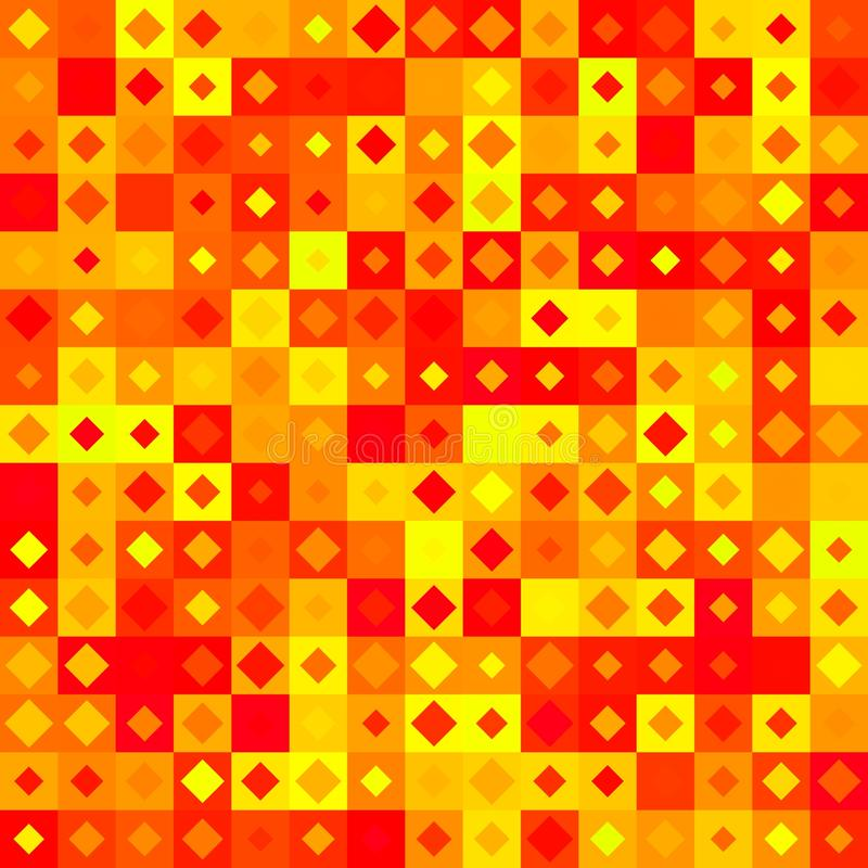 Abstract yellow, red and orange tile pattern. Simple tiled texture background. Checked seamless illustration. vector illustration