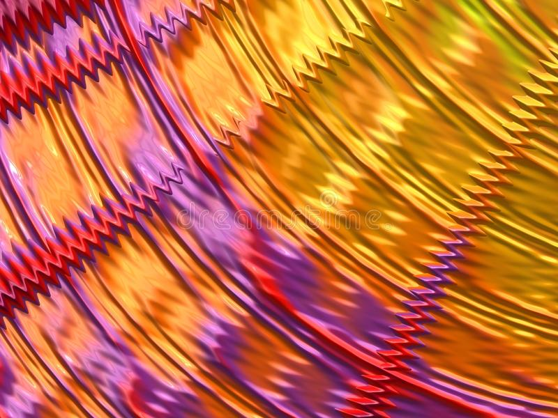 Abstract yellow, red and violet and pink fractal lines and waves. 3d render. For design and entertainment. Festive background for brochure, website and flyer stock illustration