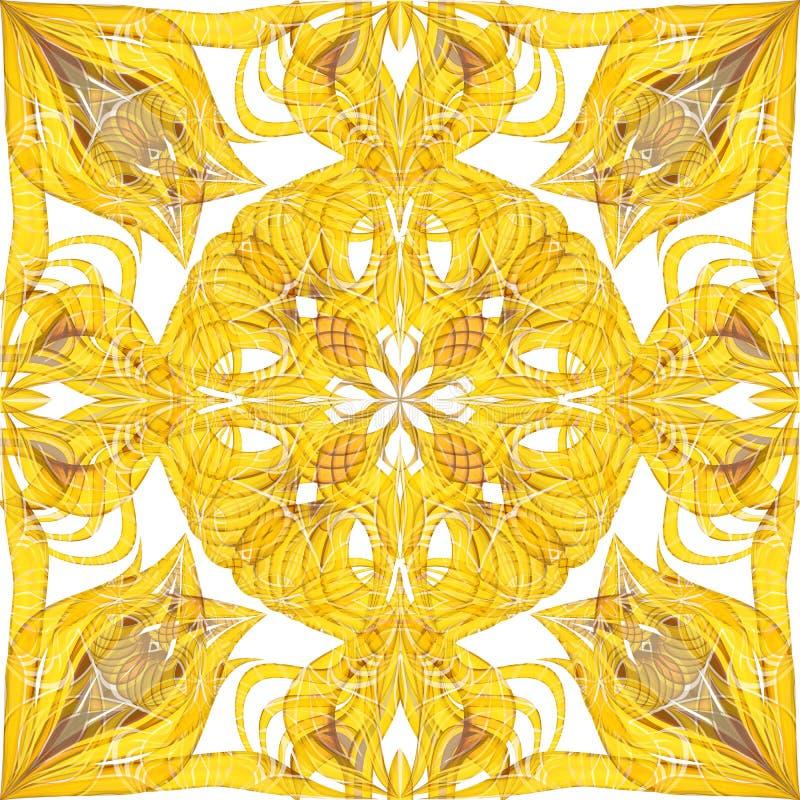 Abstract yellow seamless ornate pattern background stock illustration