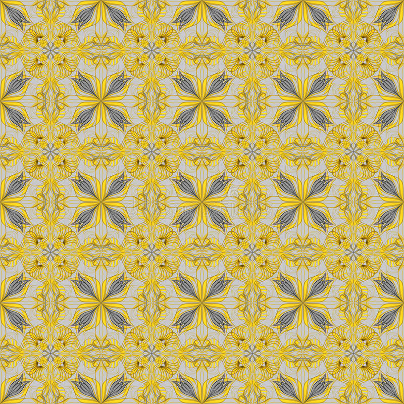 Abstract yellow seamless ornate pattern background vector illustration