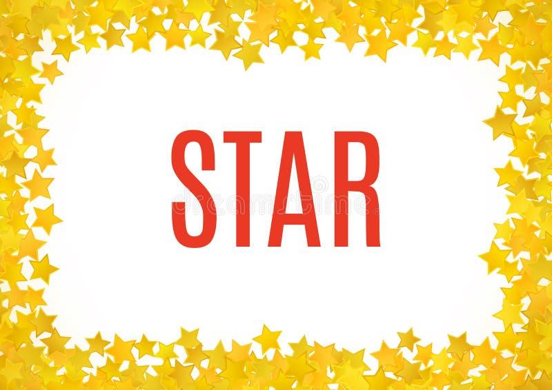 Abstract yellow star background. Vector illustration. For gold design. Golden color. Shiny decoration. Symbol celebration. Holiday award shape. Bright banner vector illustration