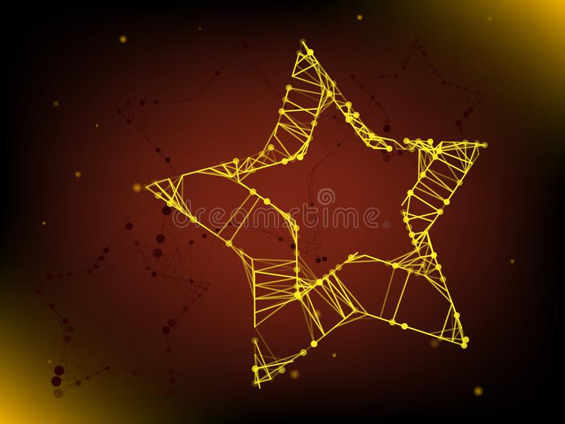 Abstract yellow star from lines and dots background. Abstract yellow star from lines and dots on dark background royalty free illustration