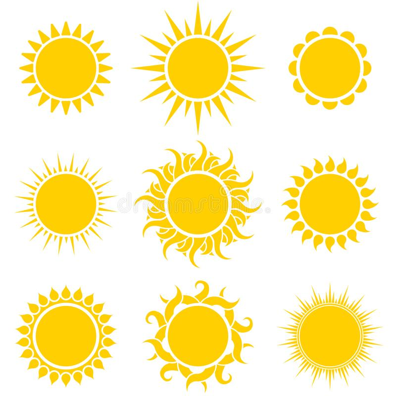 Free Abstract Yellow Sun Shapes Set Royalty Free Stock Image - 144743616