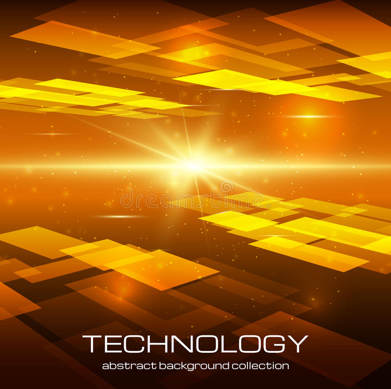 Abstract yellow technology background. With bright flare. Vector illustration stock illustration
