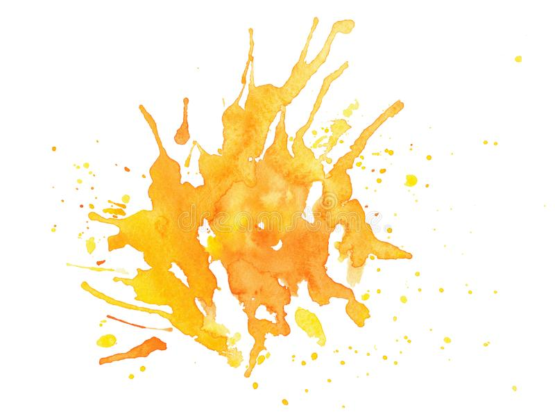 Abstract yellow watercolor on white background. Abstract yellow spattered watercolor on white background. paint stain with droplets isolated stock illustration