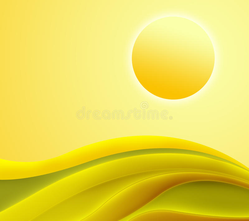 Abstract yellow waves background stock photos