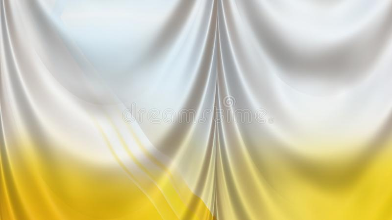 Abstract Yellow and White Silk Curtain Background Texture royalty free illustration