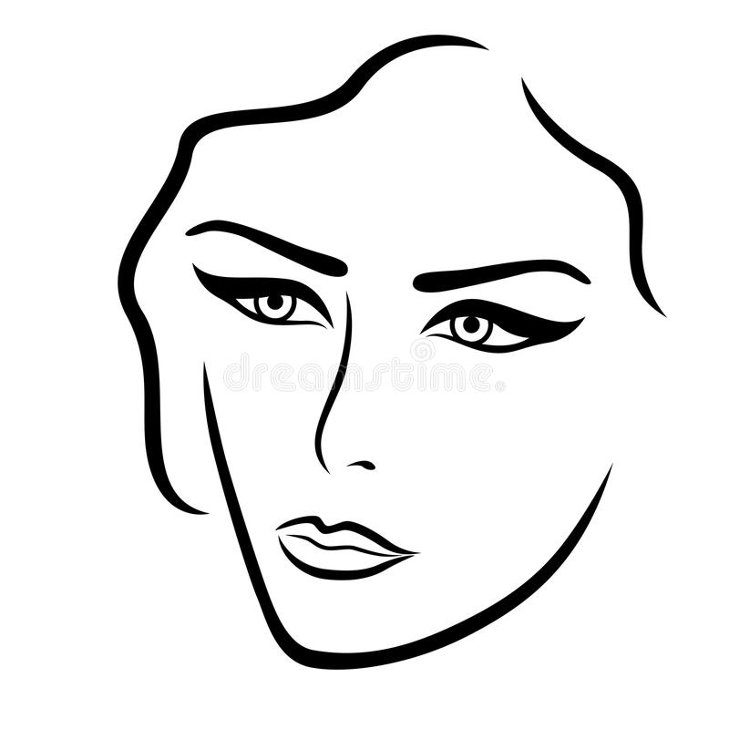 Abstract young lady face vector illustration