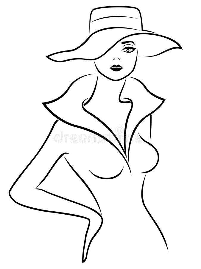 Abstract young lady in hat outline stock illustration
