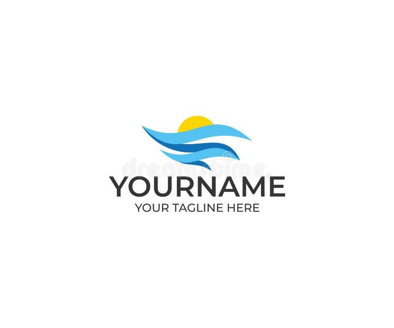 Abstract Zeegezicht en Sun Logo Template Oceaanvector royalty-vrije illustratie