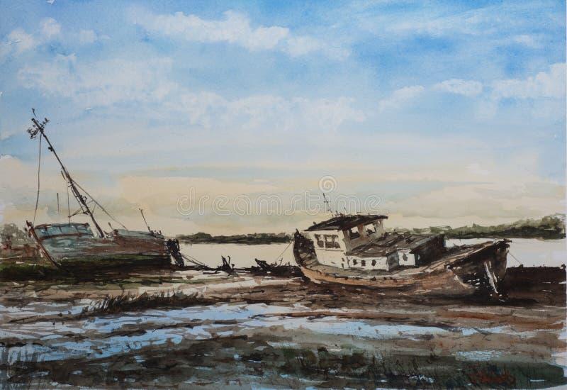 Abstract zeegezicht met oude boten en schepen stock foto